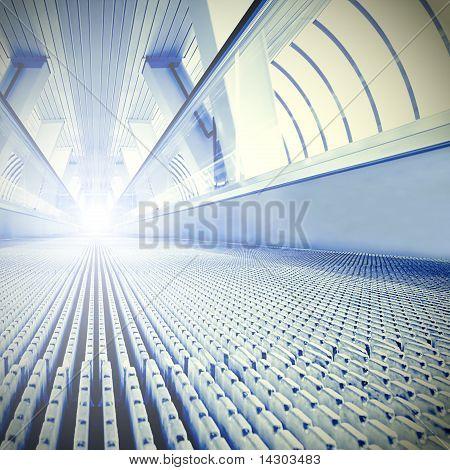 Blue Modern Escalator In Business Center