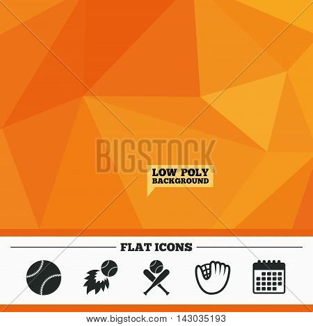 Triangular low poly orange background. Baseball sport icons. Ball with glove and two crosswise bats signs. Fireball symbol. Calendar flat icon. Vector