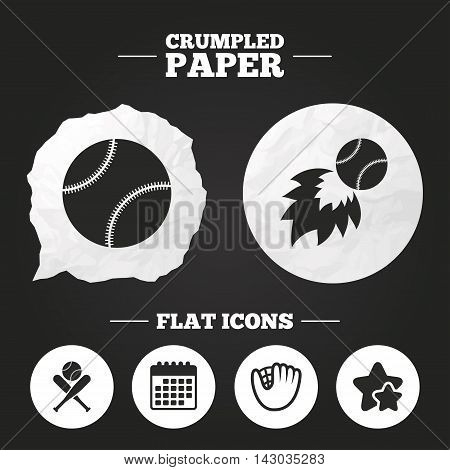 Crumpled paper speech bubble. Baseball sport icons. Ball with glove and two crosswise bats signs. Fireball symbol. Paper button. Vector