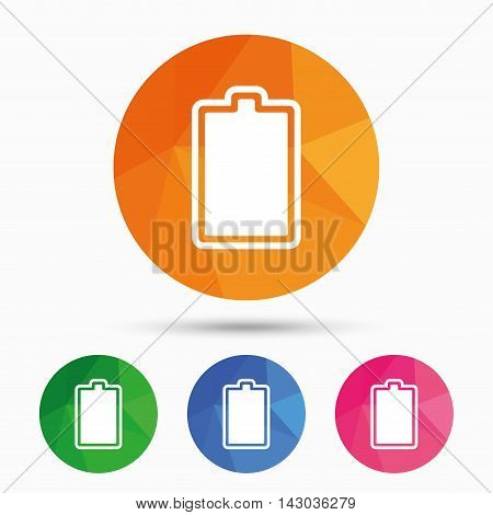 Battery fully charged sign icon. Electricity symbol. Triangular low poly button with flat icon. Vector
