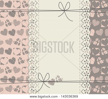 Greeting card with copy space and different texture hearts. Stylish frame can be used for wedding, invitation ,Valentine's greeting card ,baby shower card and more designs.