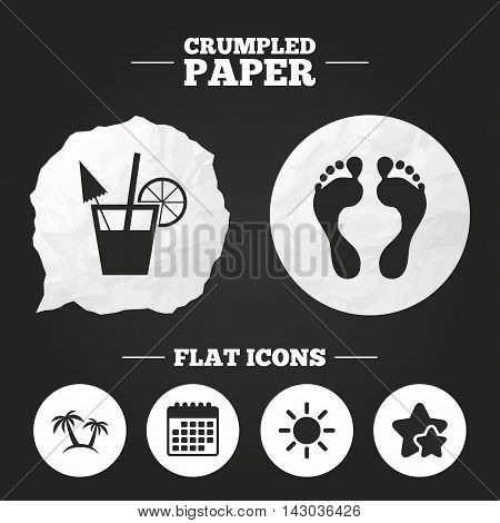 Crumpled paper speech bubble. Beach holidays icons. Cocktail, human footprints and palm trees signs. Summer sun symbol. Paper button. Vector