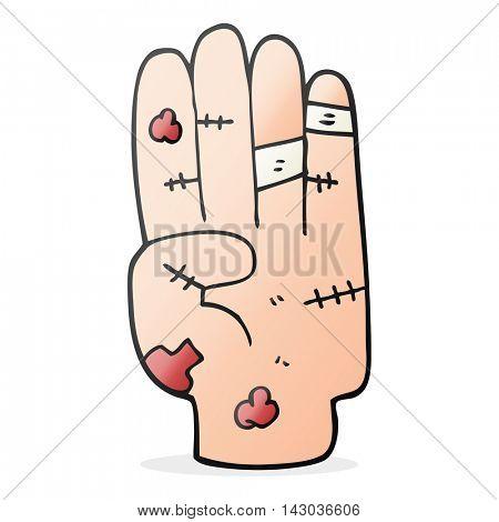 freehand drawn cartoon injured hand