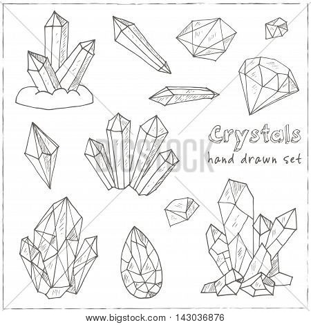 Set of geometric crystals gem and minerals. Vector illustration