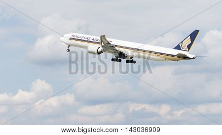 The Moscow region - 31 July 2016: Beautiful large passenger plane Boeing 777-312ER Singapore Airlines taking off at the airport Domodedovo 31 July 2016 Moscow region Russia