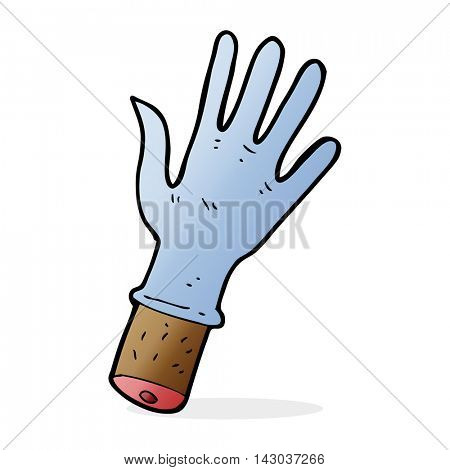 cartoon hand with rubber glove