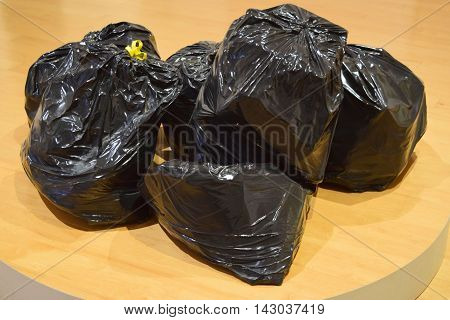 Pile of trash bags ready for disposal
