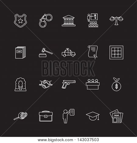 Set of black and white law and justice linear radial icons , The legal system, judge, police and lawyer vector illustration
