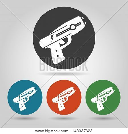 Police stun gun icon set. Weapon icons in flate style.