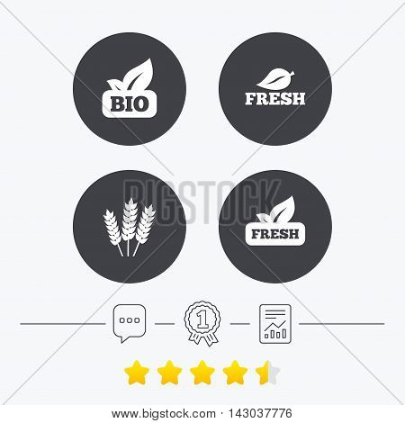 Natural fresh Bio food icons. Gluten free agricultural sign symbol. Chat, award medal and report linear icons. Star vote ranking. Vector