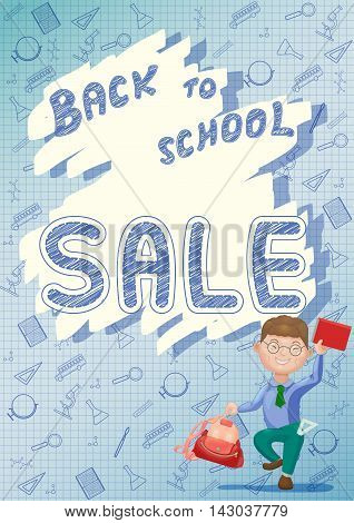 Boy with backpack and book. Back to school sale concept banner poster