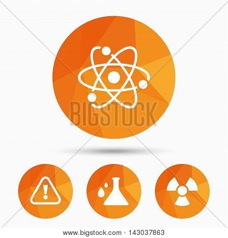 Attention and radiation icons. Chemistry flask sign. Atom symbol. Triangular low poly buttons with shadow. Vector