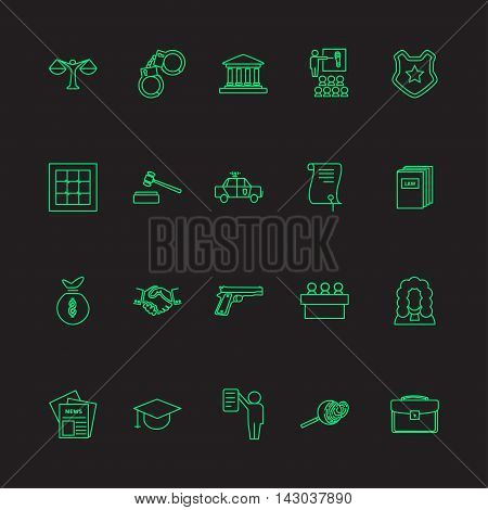 Set of  law and justice linear icons ,neon light. The legal system, judge, police and lawyer vector illustration