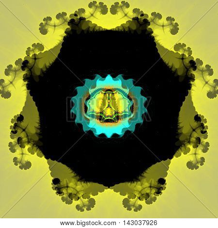 Fractal turquoise and yellow floral pattern - fractal art.
