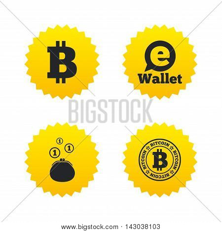 Bitcoin icons. Electronic wallet sign. Cash money symbol. Yellow stars labels with flat icons. Vector