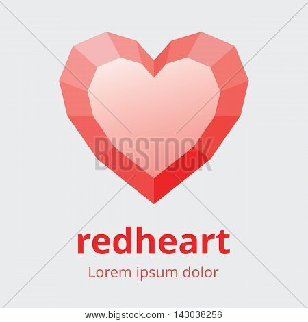 Faceted heart symbol. Polygonal multifaceted heart icon. Red heart with faces design element. Vector illustration in EPS8.