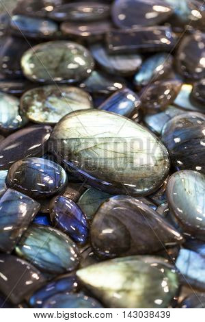 Image of texture from colorful labradorite gem stones.