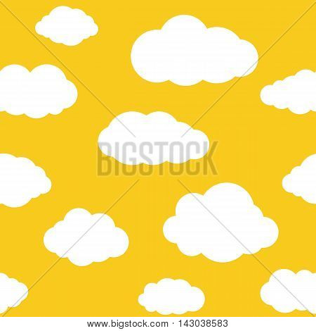 Clouds seamless pattern. Vivid yellow background with white sky cloudlets. Simple vector repeating texture in eps8 format.
