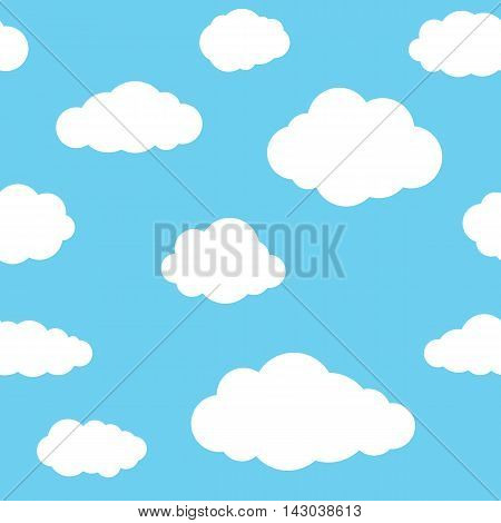 Clouds seamless pattern. Vivid blue continuous background with white sky cloudlets. Simple vector repeating texture in eps8 format.