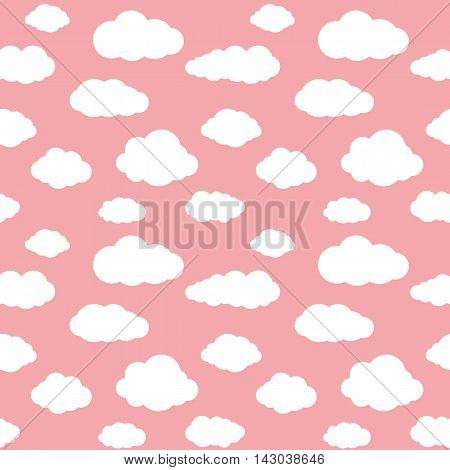 Clouds seamless pattern. Vivid pink background with white sky cloudlets. Simple vector repeating texture in eps8 format.