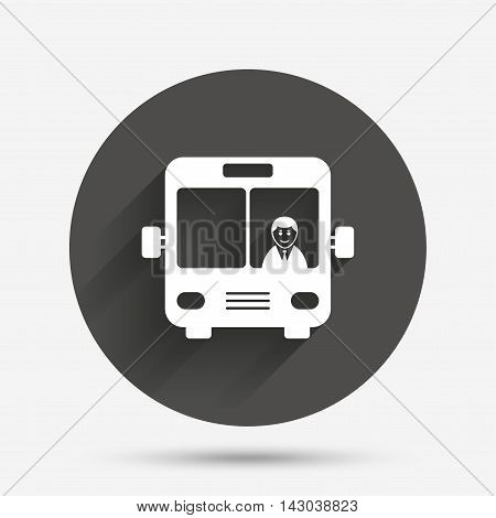 Bus sign icon. Public transport with driver symbol. Circle flat button with shadow. Vector