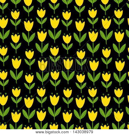 Vector illustration seamless with yellow tulips on a black background. Flower patern.