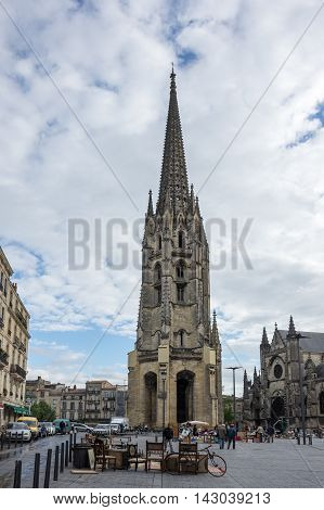 BORDEAUX FRANCE - MAY 06 2015: Belltower of Saint-Michel Basilica UNESCO heritage site Bordeaux France