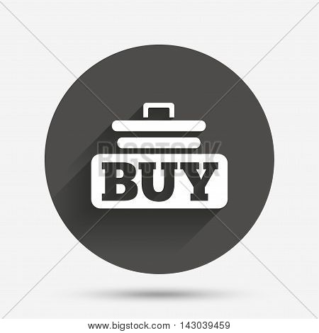 Buy sign icon. Online buying cart button. Circle flat button with shadow. Vector