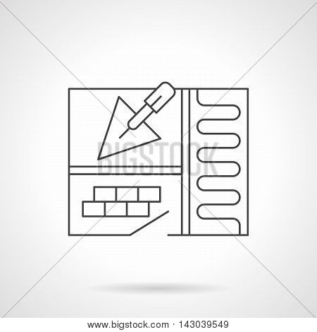 Underfloor heating installation symbol. Abstract apartment sketch with trowel, room with tile and warm floor section. Construction and renovation works. Flat line style vector icon.