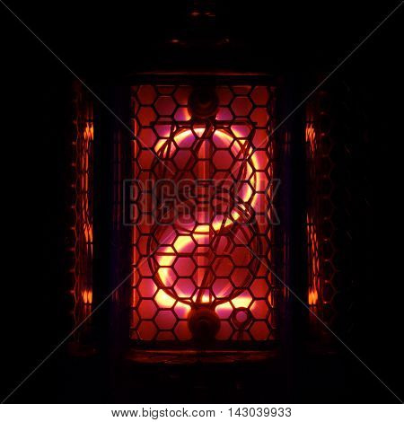 The real Nixie tube indicator of the numbers of retro style. Indicator glow with a magical purple fringing. Digit 1