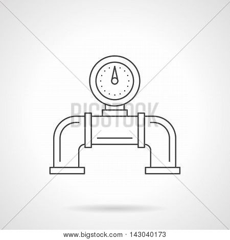 Part of pipe with pipeline gauge for water, heating system and others. Industrial and household equipment, pressure measuring devices. Flat line style vector icon.