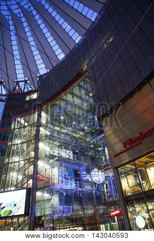 BERLIN - NOVEMBER 19,2015: Sony Center November 19, 2015 in Berlin, Germany. The center is a public space, located in the Potsdamer Platz financial district.
