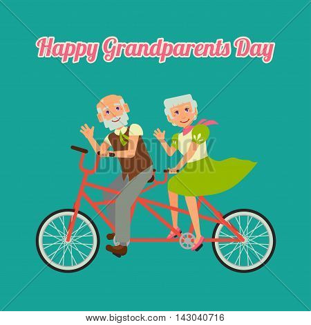 Postcard Happy Grandparents Day. Grandmother and grandfather riding on a tandem bicycle. Enjoying life. Anniversary.
