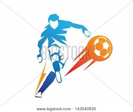 Modern Soccer Player In Action Logo - Aggressive On Fire Kick