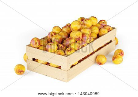 Nectarines in a wooden box isolated on the white background. 3d rendering