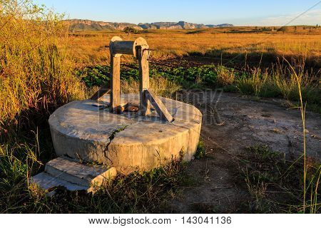 Water Well And Vegetables In An African Landscape