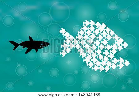 Big Fish Eat Little Fish. Unity, Teamwork, Organize Concept. Fishes unite fight with big fish. vector illustration. sharks