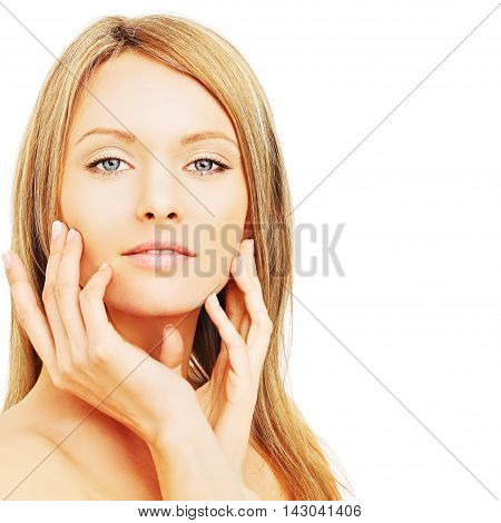 Beautifu blond woman with healthy skin and hair
