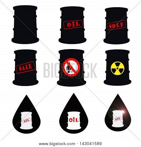 Barrels for petroleum products and the drop of oil on white background .