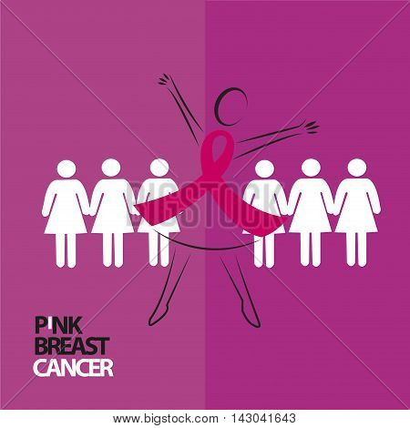 hand in hand for Breats Cancer  hand in hand for Breats Cancer. Vector illustration.