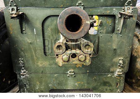Art object. Barrel rusty self-propelled guns of the Second World War