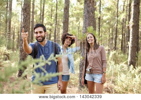 A young man pointing at something for his friends a pine forest in the late afternoon sunshine looking ahead while wearing casual clothing