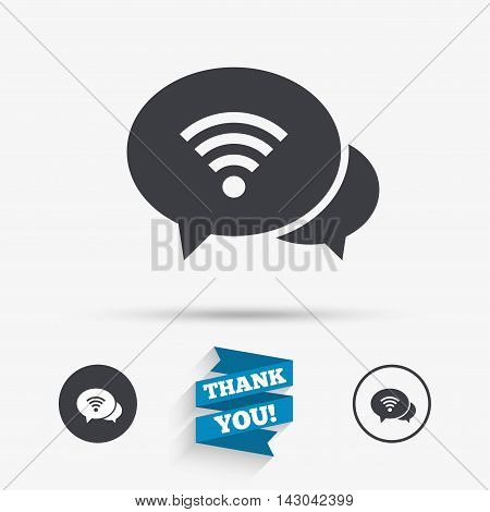 Chat speech bubbles. Wifi sign. Wi-fi symbol. Wireless Network icon. Wifi zone. Flat icons. Buttons with icons. Thank you ribbon. Vector