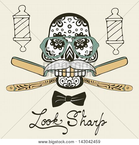 Look sharp. Skull with mustache. Retro style hand drawn graphics for barber shop emblem