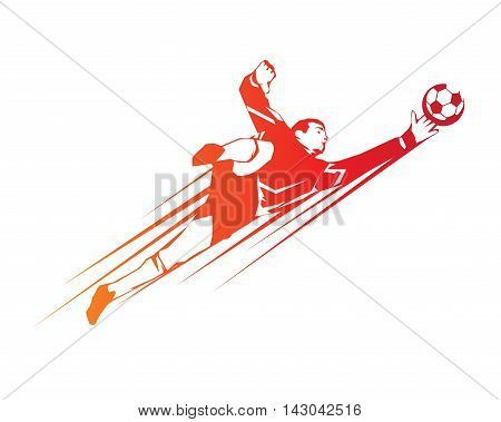 Modern Soccer Player In Action Logo - Save By The Goalkeeper