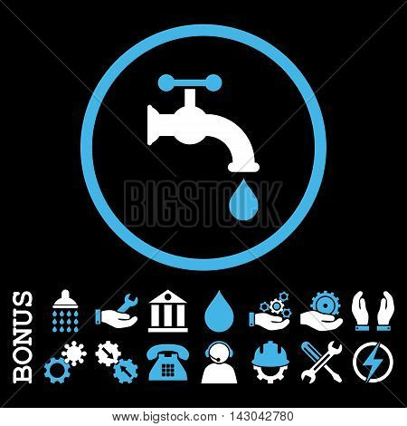 Water Tap glyph bicolor icon. Image style is a flat pictogram symbol inside a circle, blue and white colors, black background. Bonus images are included.