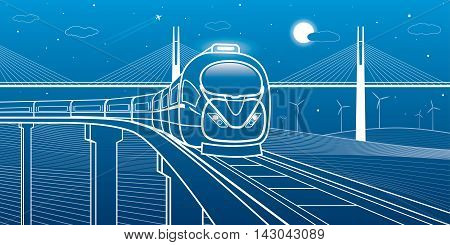 Train goes over the bridge on the background of cable-stayed bridge and wind turbines, transportation illustration, vector design art