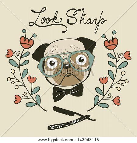 Look sharp hand drawn card with cute french bulldog gentleman. Vector illustration