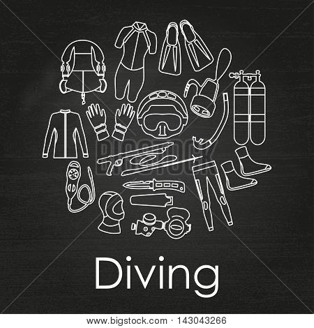 Scuba diving linear equipment on chalkboard background. Sport underwater, water sea, glove and flashlight, Jacket, pants, suit, socks, regulators, octopus,  mask and snorkel. Vector illustration