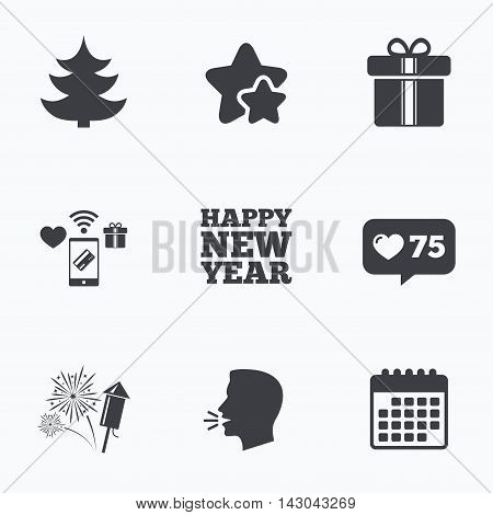 Happy new year icon. Christmas tree and gift box signs. Fireworks rocket symbol. Flat talking head, calendar icons. Stars, like counter icons. Vector